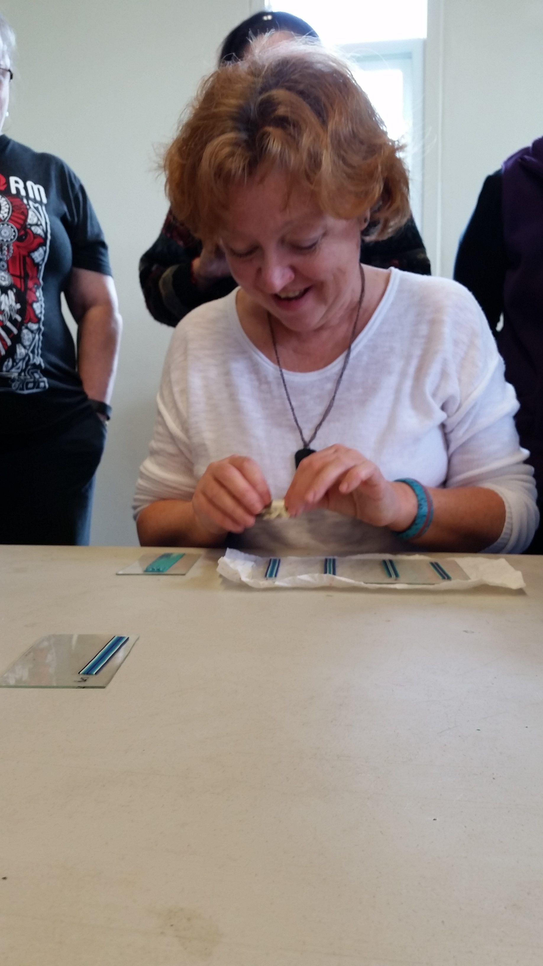Nadia Valiaeva teaching how to make polymer clay micro-mosaic pendants