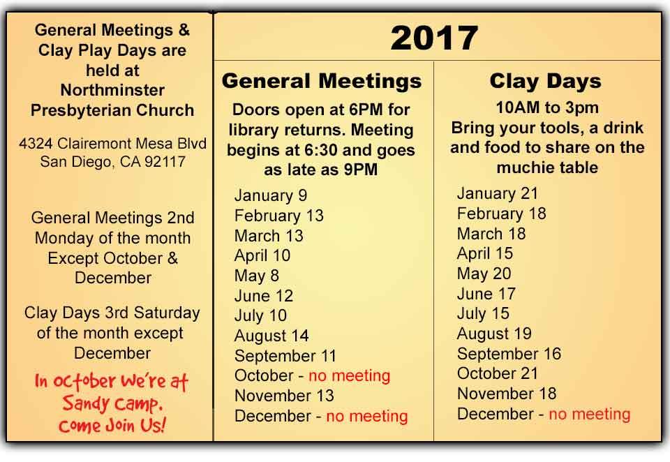 2017 San Diego Polymer Clay Guild calendar