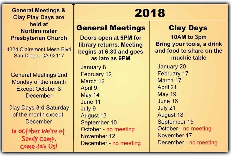 2018 San Diego Polymer Clay Guild calendar