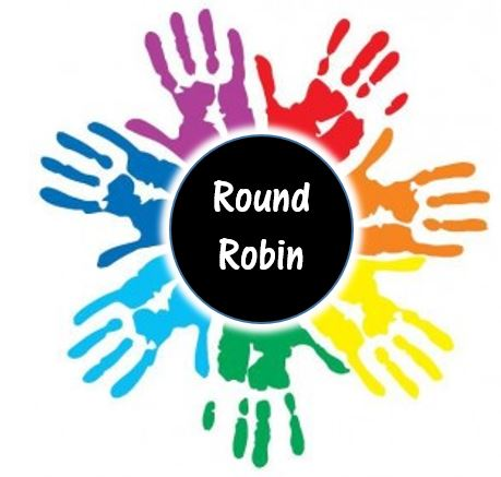 "Round Robin logo. 7 handprints in a rainbow of colors around a black circle which reads, ""Round Robin"""